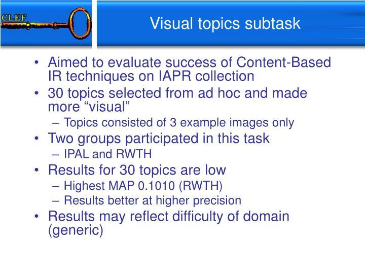 Visual topics subtask