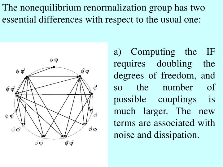 The nonequilibrium renormalization group has two essential differences with respect to the usual one: