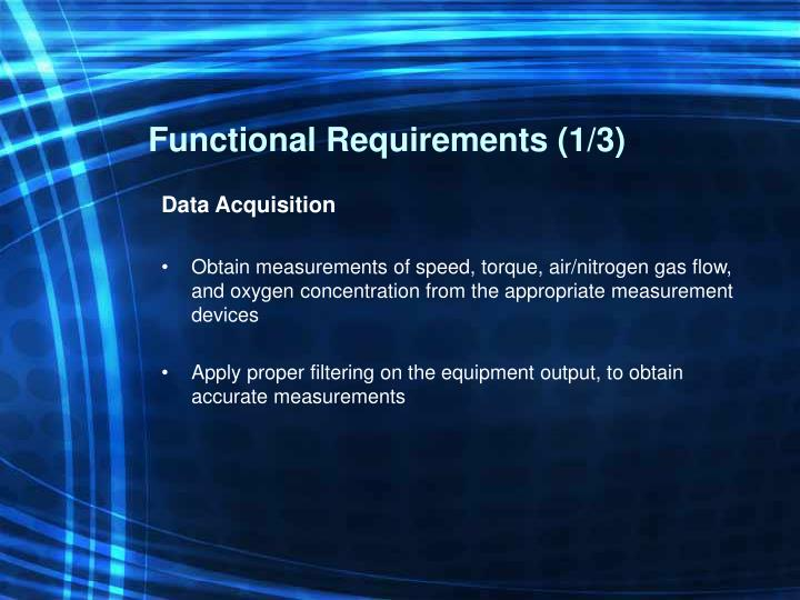Functional Requirements (1/3)