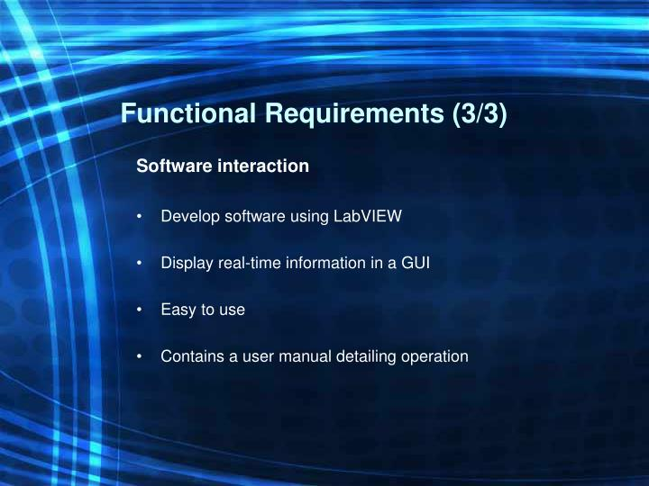 Functional Requirements (3/3)