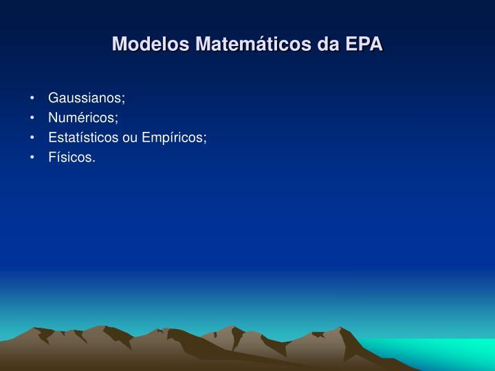 Modelos Matemáticos da EPA