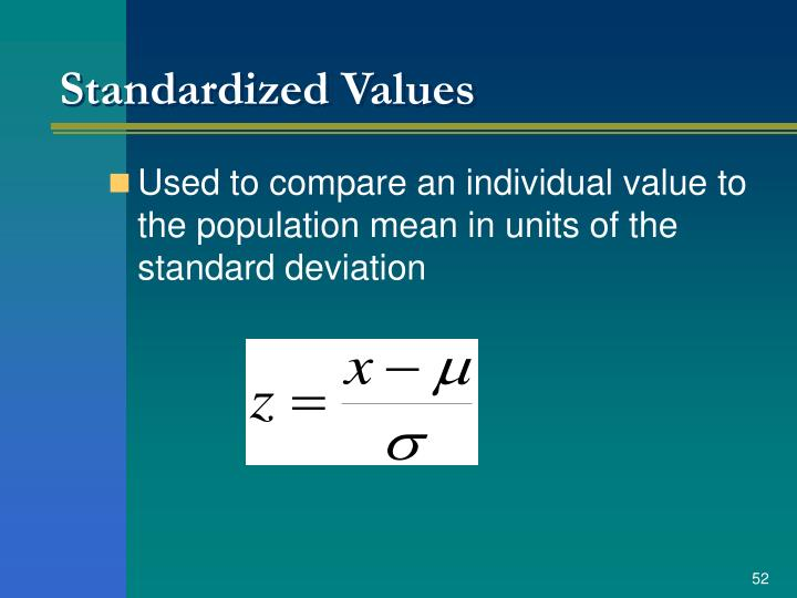 Standardized Values