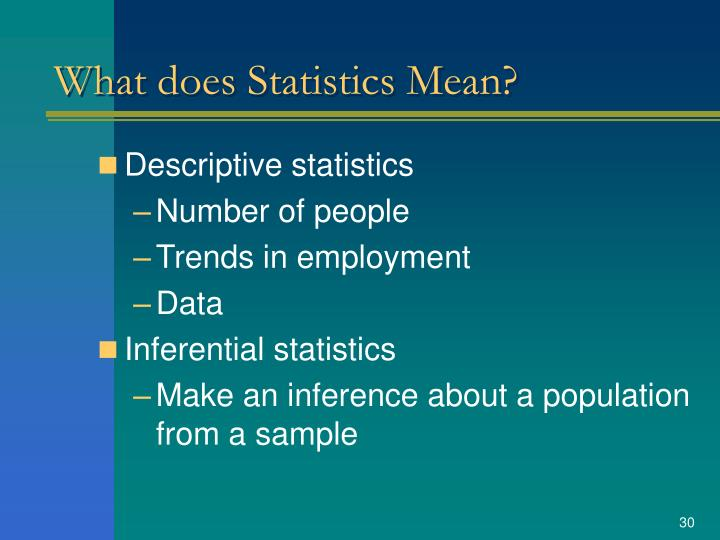 What does Statistics Mean?