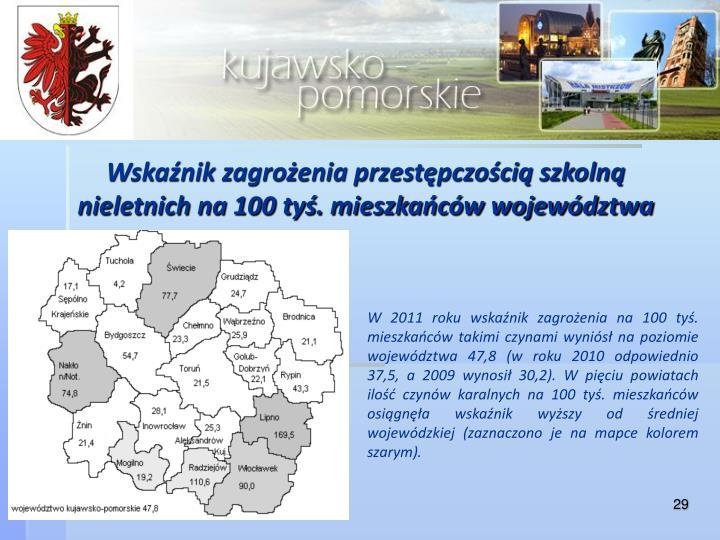 Wskaźnik zagrożenia przestępczością szkolną nieletnich na 100 tyś. mieszkańców województwa