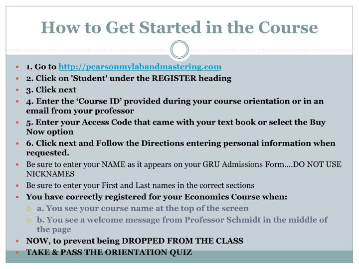 How to Get Started in the Course