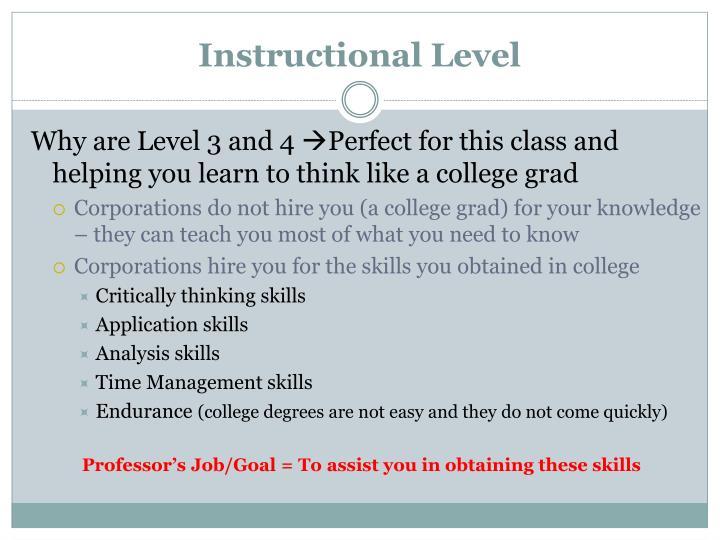 Instructional Level