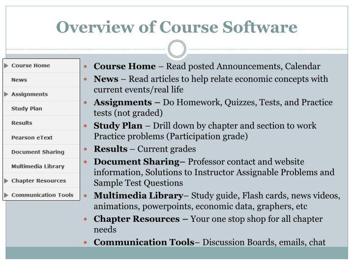 Overview of Course Software