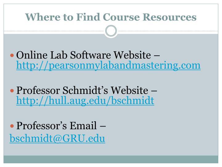 Where to Find Course Resources
