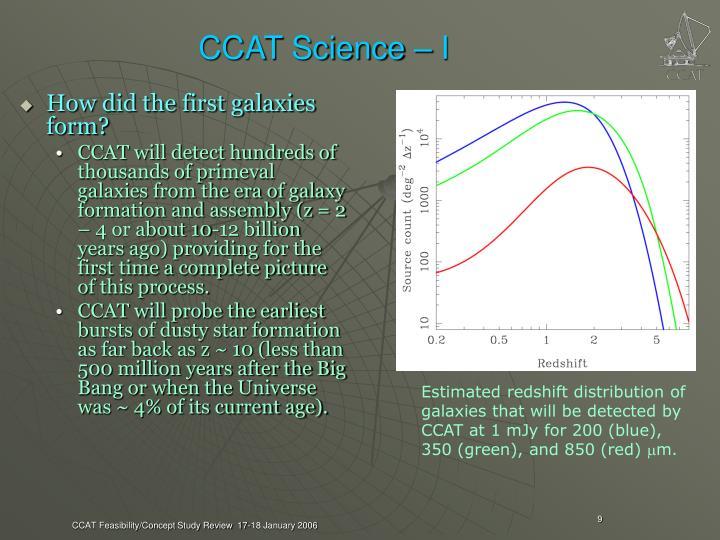 CCAT Science – I