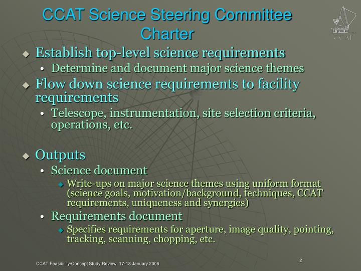 CCAT Science Steering Committee Charter