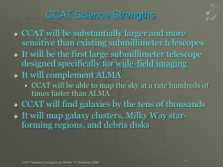 CCAT Science Strengths