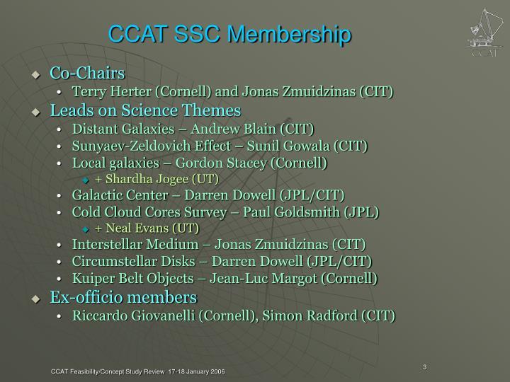 CCAT SSC Membership