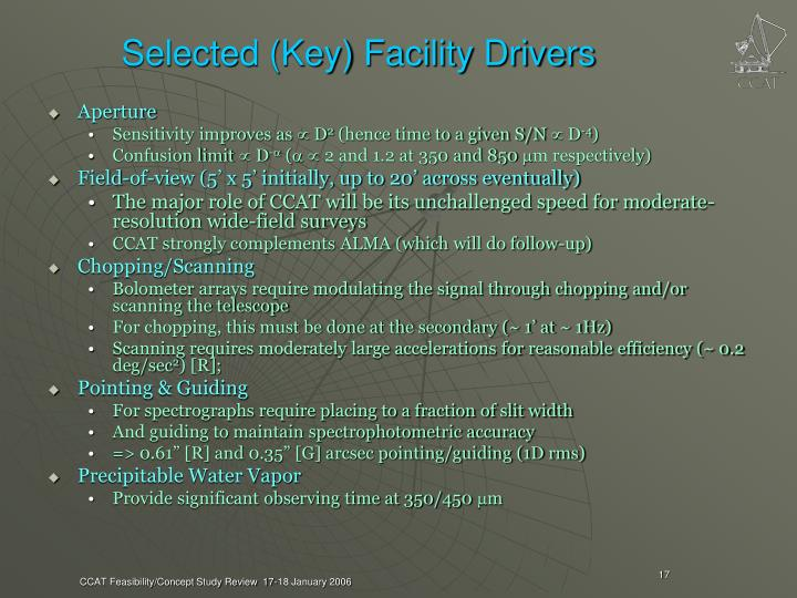 Selected (Key) Facility Drivers