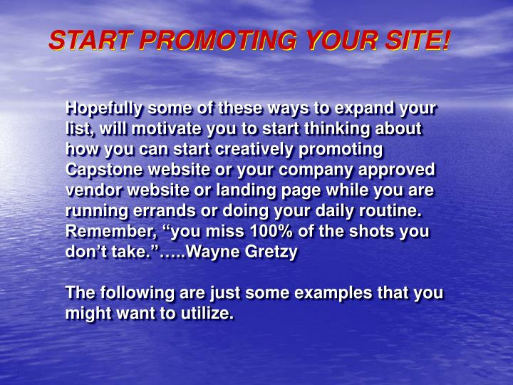 START PROMOTING YOUR SITE!