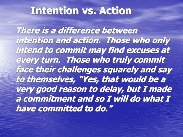 Intention vs. Action