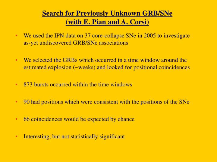 Search for Previously Unknown GRB/SNe