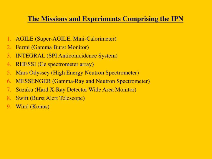 The Missions and Experiments Comprising the IPN