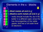 elements in the s blocks