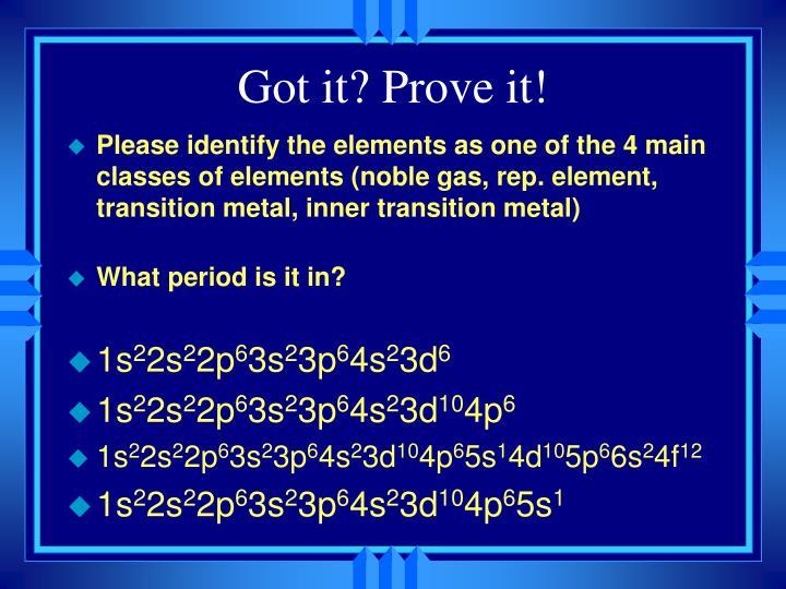 Got it? Prove it!