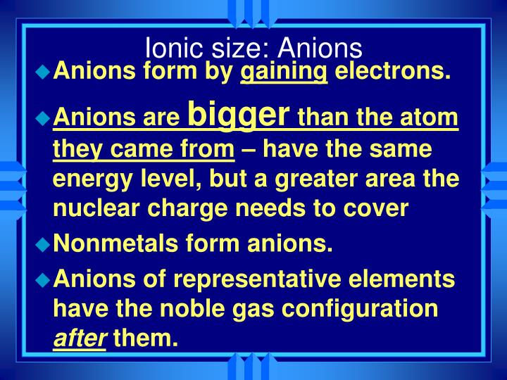 Ionic size: Anions