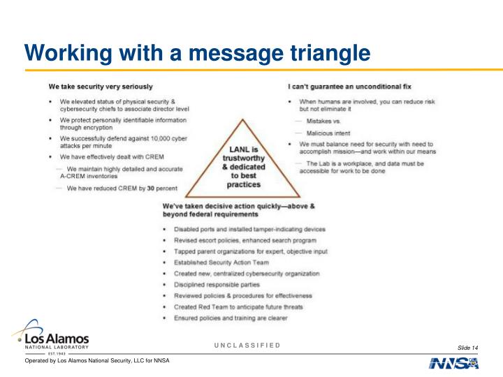 Working with a message triangle