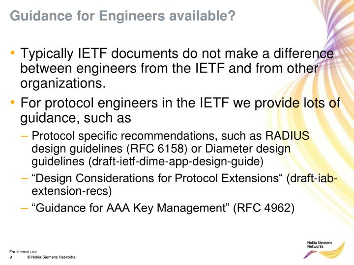 Guidance for Engineers available?