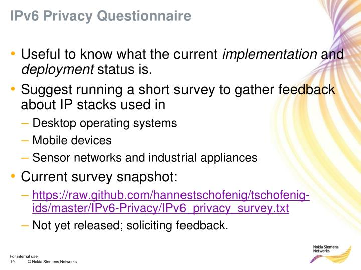 IPv6 Privacy Questionnaire