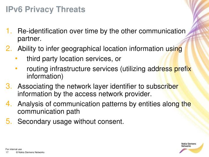 IPv6 Privacy Threats