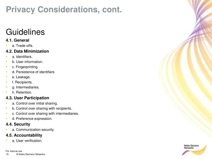 Privacy Considerations, cont.