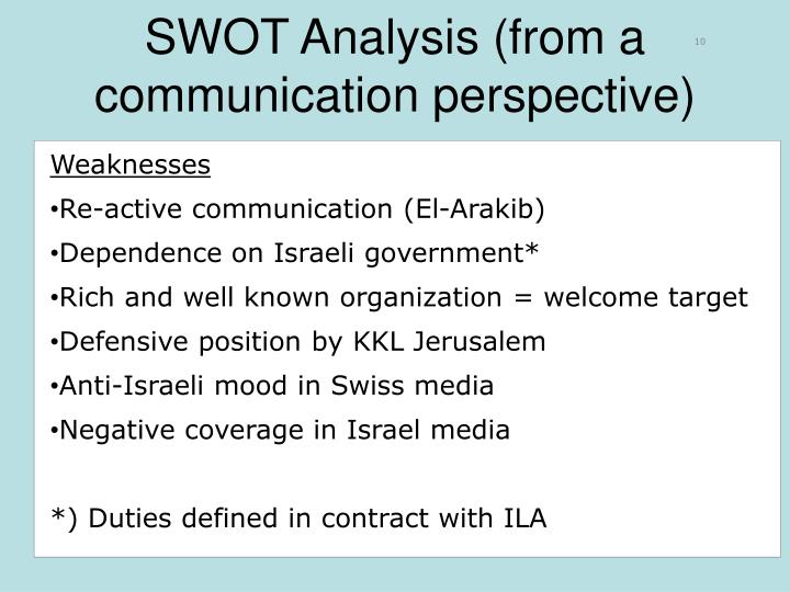 SWOT Analysis (from a communication perspective)