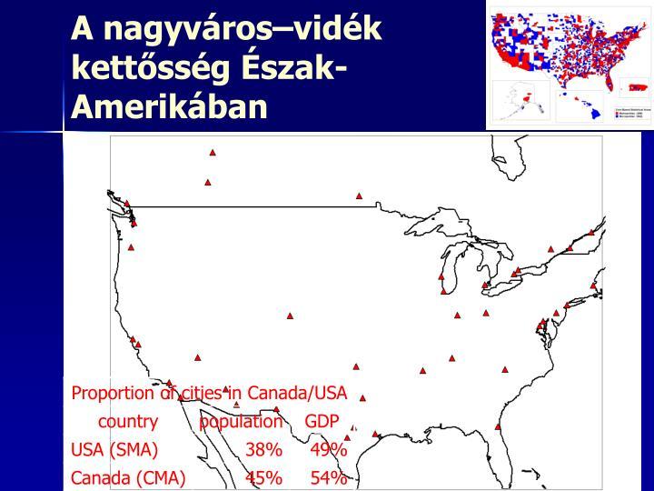 A nagyváros–vidék kettősség Észak-Amerikában