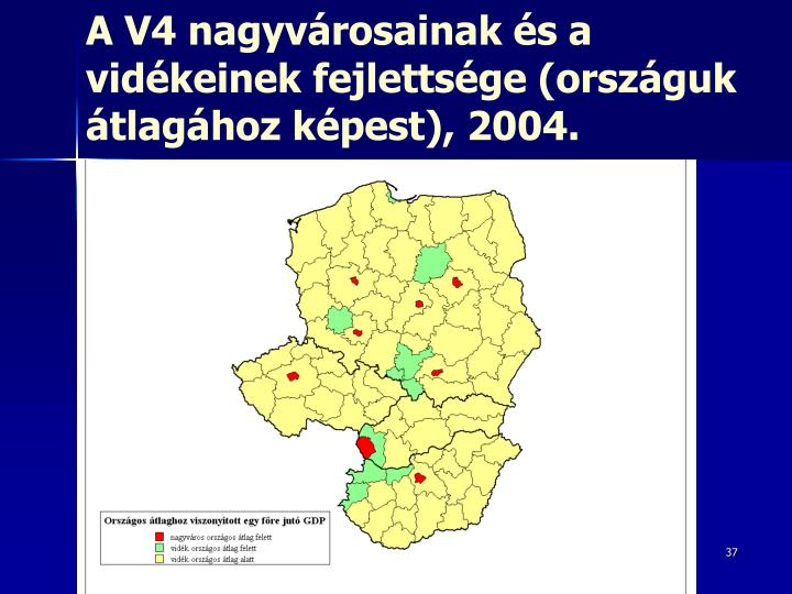 A V4 nagyvárosainak és a vidékeinek fejlettsége (országuk átlagához képest)