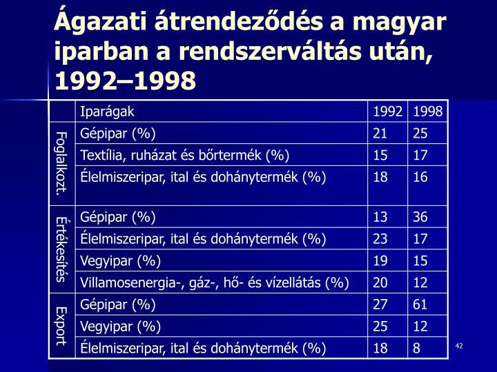 Ágazati átrendeződés a magyar iparban a rendszerváltás után, 1992–1998