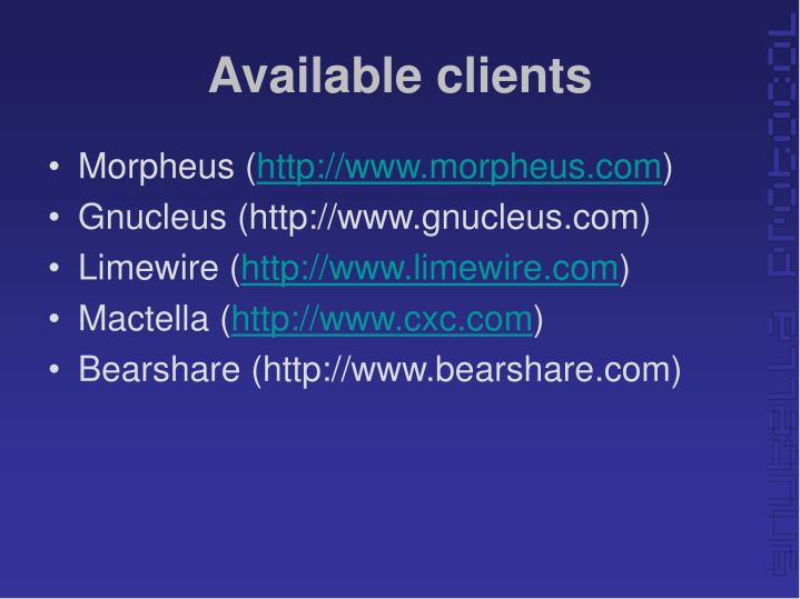 Available clients