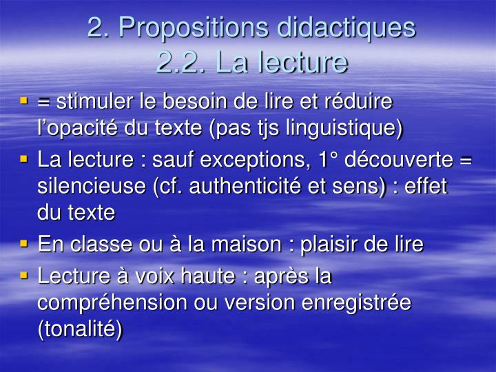 2. Propositions didactiques