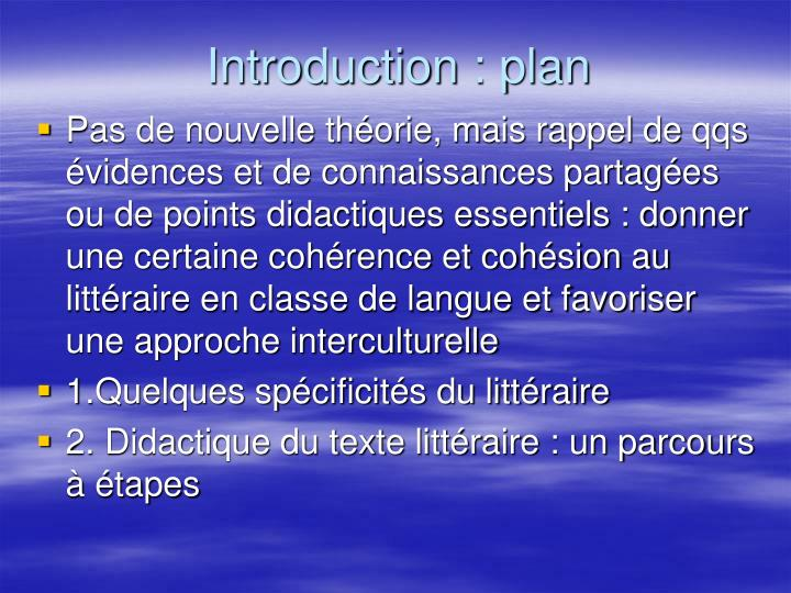 Introduction : plan
