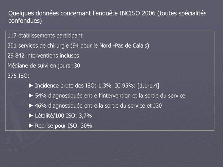 Quelques données concernant l'enquête INCISO 2006 (toutes spécialités confondues