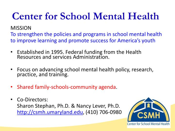 Center for school mental health