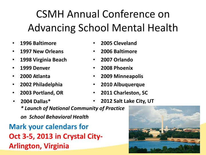 CSMH Annual Conference on Advancing School Mental Health
