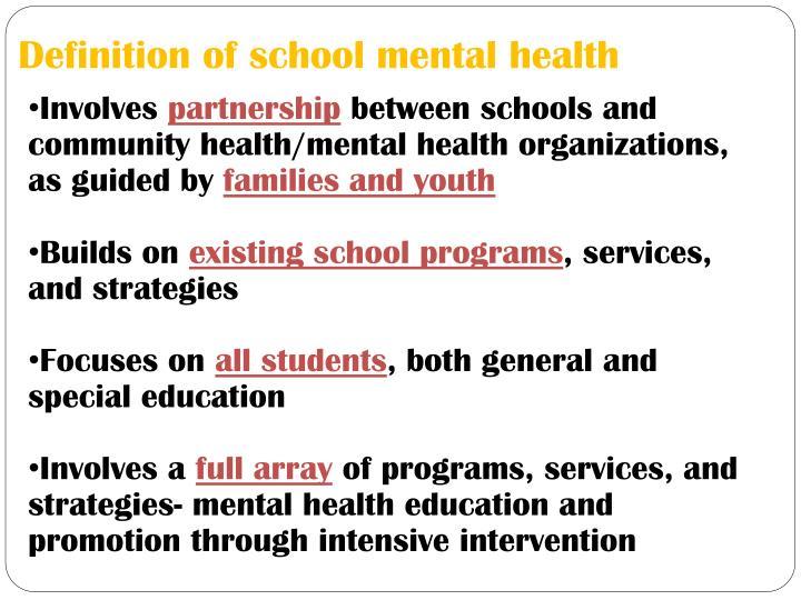 Definition of school mental health