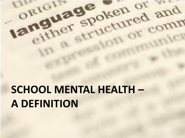 School Mental Health –