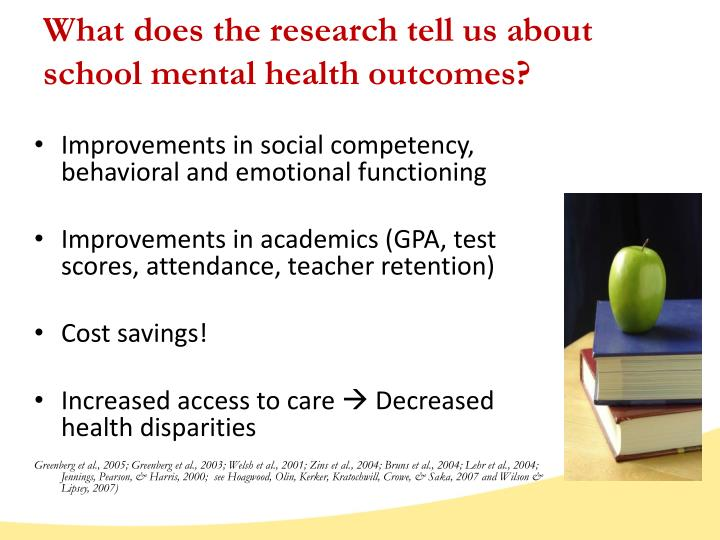 What does the research tell us about school mental health outcomes?