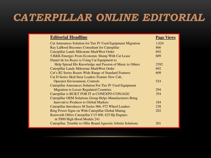 Caterpillar Online Editorial