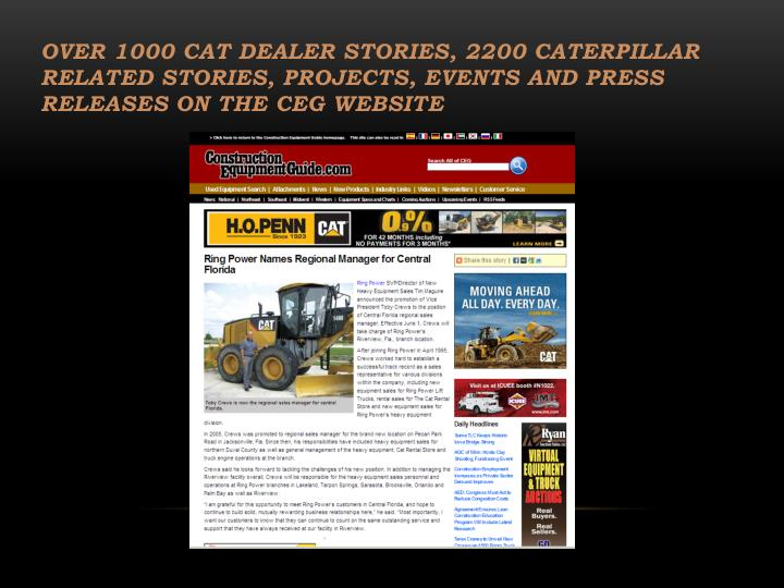 Over 1000 Cat Dealer Stories, 2200 caterpillar related stories, projects, events and press releases on the