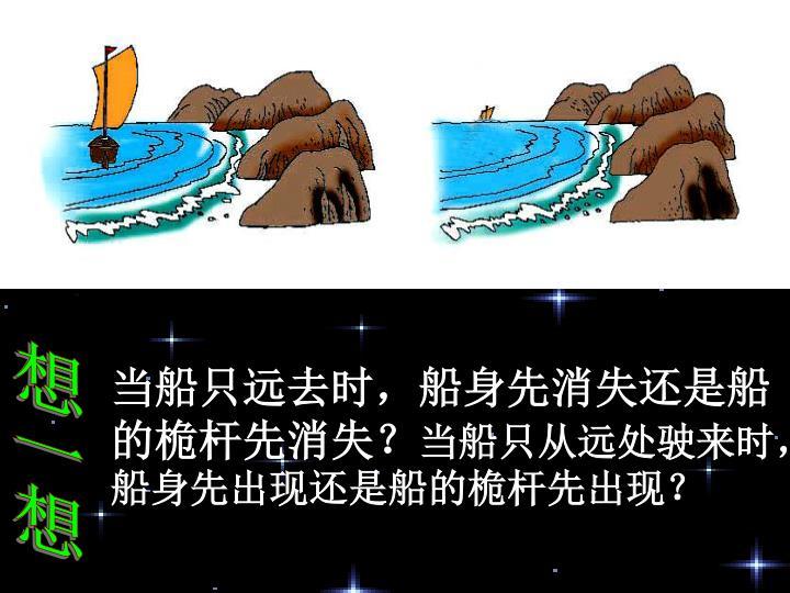 当船只远去时,船身先消失还是船的桅杆先消失?