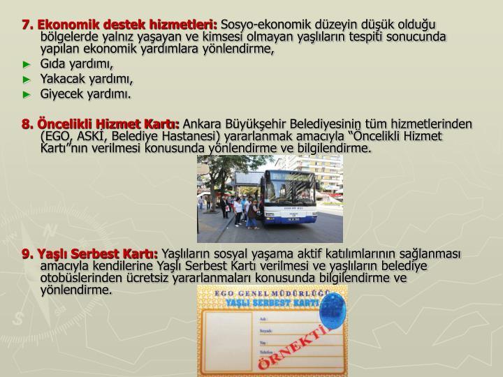 7. Ekonomik destek hizmetleri: