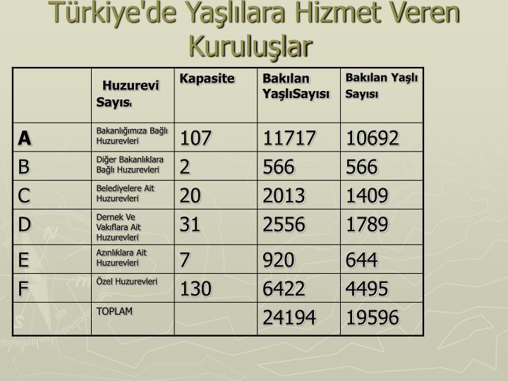Türkiye'de Yaşlılara Hizmet Veren Kuruluşlar