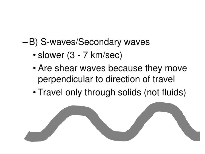 B) S-waves/Secondary waves