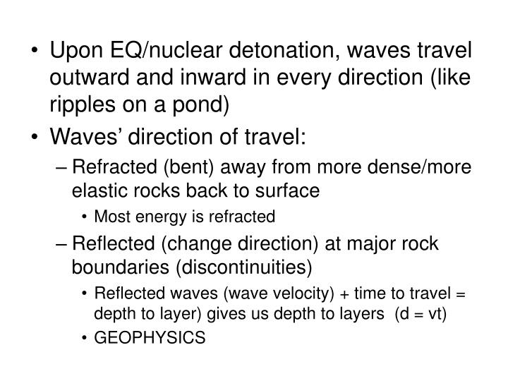 Upon EQ/nuclear detonation, waves travel outward and inward in every direction (like ripples on a pond)