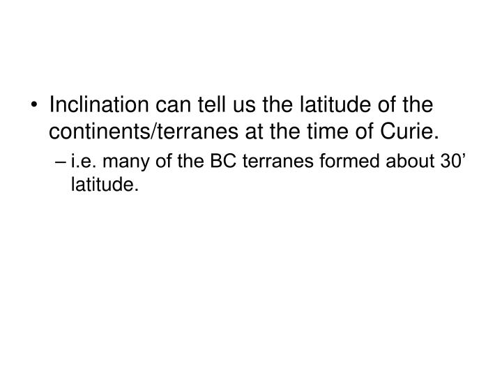 Inclination can tell us the latitude of the continents/terranes at the time of Curie.